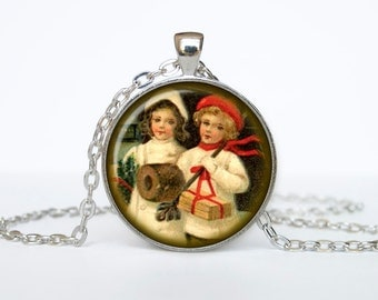 Vintage Christmas postcard Jewelry Christmas Necklace Christmas Gifts New Year Pendant Christmas Jewelry, Xmax Necklace, Xmas Pendant