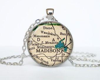 Madison  map pendant, Madison   map necklace, Madison   map jewelry, Madison   Wisconsin