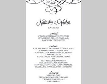 Wedding Menu Card Template – Calligraphy Flourish (Black) - Instant Download - Editable MS Word File