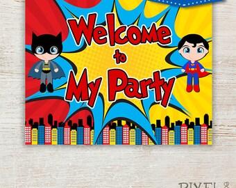 HUGE Superhero Birthday Sign, super hero, comic book ...
