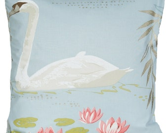 Swan Cushion Cover Blue Throw Pillow Case Printed Bird Textile by Nina Campbell Cotton Fabric