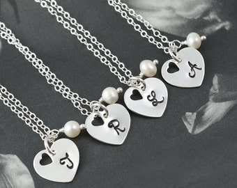 Bridesmaids gifts, set of 3 Heart charm necklaces, Bridal jewelry, Pearl & initial, Bridesmaid necklaces, Initial necklaces