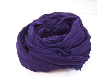 Violet Scarf, Violet Cotton Scarf, Purple Scarf, Purple Cotton Scarf, Lightweight Scarf, Cotton Gauze Scarf, Purple Fall Wedding, Mens Scarf