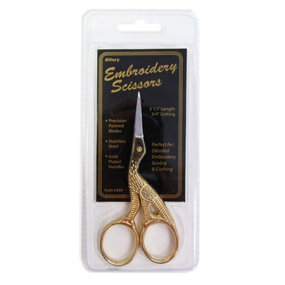 "Allary #260 3-1/2""Ultra Fine Embroidery Scissors, Stork Scissors, Gold Plated Stork Embroidery Scissors"