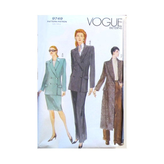 Vintage Vogue 9749 Misses Jacket Skirt and Pants Sewing Pattern, Size 20-22-24, Misses Sewing Pattern, New, Uncut, Factory Folds