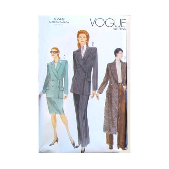 Vintage Vogue 9749 Misses Jacket Skirt and Pants Sewing Pattern, Size 20-22-24, Misses Sewing Pattern, New, Uncut, Factory Folds