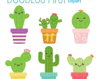 Hug Me Cacti Digital Clip Art for Scrapbooking Card Making Cupcake Toppers Paper Crafts