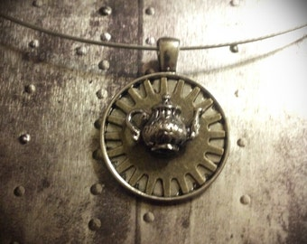 I'm a Little Teapot - Steam Punk Necklace With Grey Memory Wire Choker