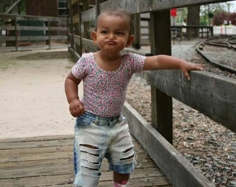 The Majesty Jean Shorts  - distressed denim shorts - baby jean shorts - toddler jean shorts - toddler shorts