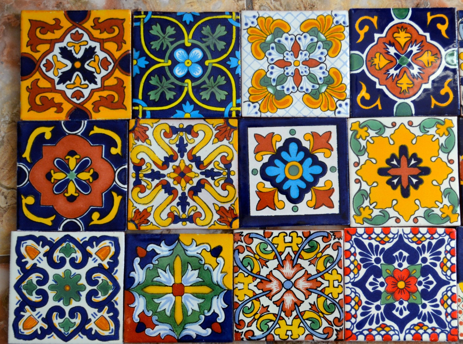 12 mexican talavera tiles hand painted 4 x 4 for Azulejos mexico