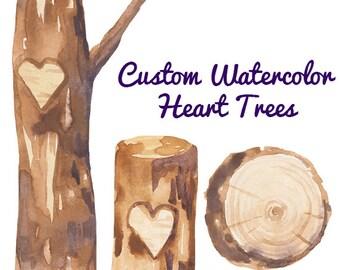 Custom Watercolor Heart Trees Carving Clipart Wedding invites romantic clip art rustic weddings