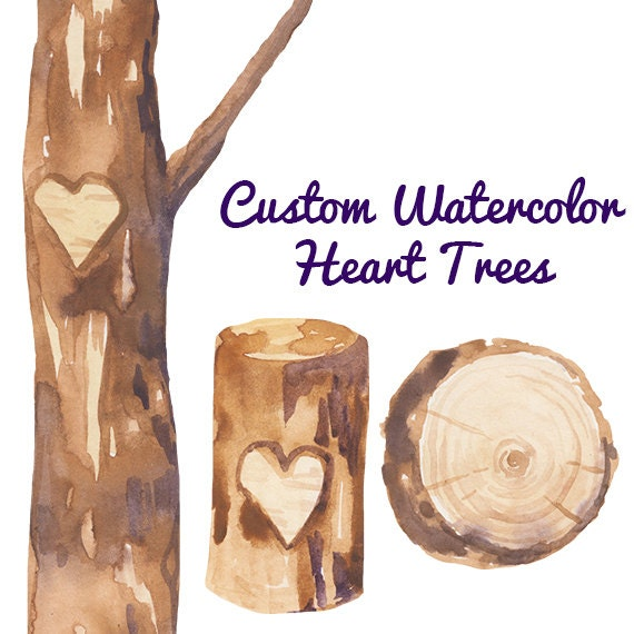 Custom Watercolor Heart Trees Carving Clipart Wedding invites