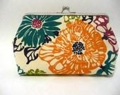 Floral Fabric Clutch, Bridesmaid Purse, Cotton Clutch, Pink Purse, Handbag, Fuchsia Interior, 7-Inch Clasp