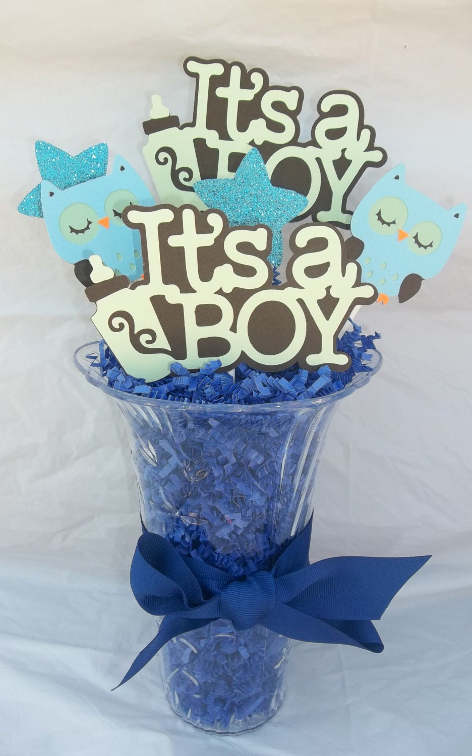 It s a boy centerpiece baby shower owl by