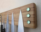 Magnetic Knife Holder Bar with Vintage Green Glass - Refrigerator Mount