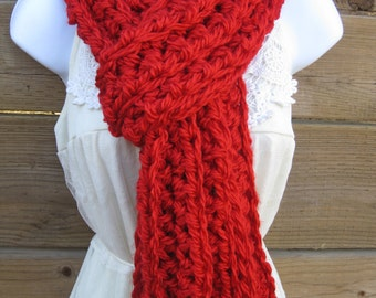 Crochet long scarf in bright red, red scarf, chunky red scarf, long cozy scarf