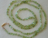 Long green Peridot and gold simple beaded necklace Semi-precious necklace Semi-precious jewelry
