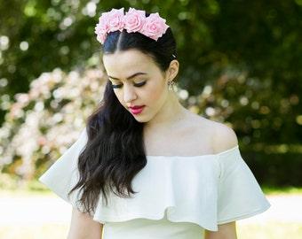 Pink Rose Flower Crown, Pink Rose Headband, Pink Flower Crown, Flower Crown, Rose Crown, Flower headband, Festival Crown