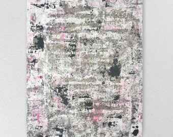 Large abstract painting huge canvas contemporary gray grey pink charcoal black white painting neon modern wall art