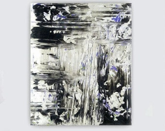 Abstract painting canvas art black and white purple violet huge painting wall art big minimalist painting modern painting