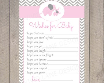 Elephants Well Wishes for Baby Card , INSTANT DOWNLOAD, Pink and Grey, Chevron, Printable Wishes for Baby Card, Girl Baby Shower 030
