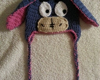 Adorable Crochet Eeyore Earflap hat