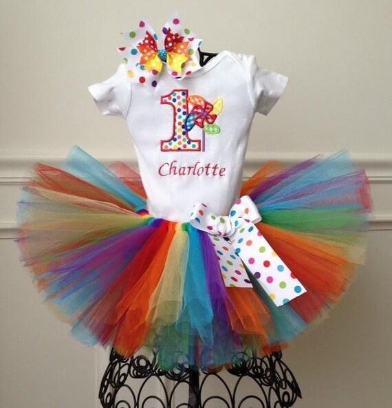 1st Birthday Rainbow Pinwheel Tutu Outfit