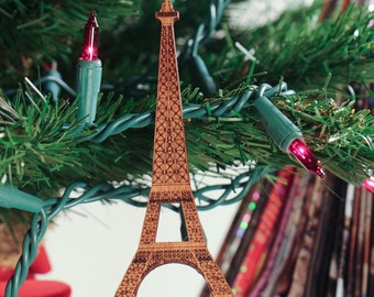 Eiffel Tower Laser Cut Ornament; Paris Christmas Ornament