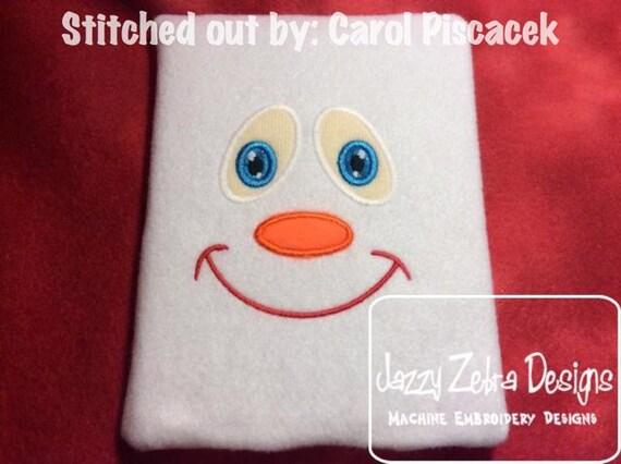 Snowman Face 3 Appliqué Design - snowman Applique Design - Winter Applique Design - snow man Appliqué Design - snow man face Applique