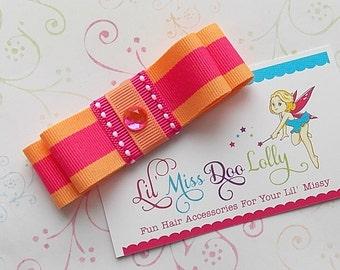 Jumbo Tuxedo Bow Hair Clippie-Tuxedo Bow Hair Accessory- Tuxedo Hair Clip-  Barrette-Tangerine and Pink (Set of 1)