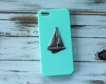 Nautical iPhone 5 Case Sailboat iPhone Case Mint Green iPhone Case Sailing iPhone 5s Case iPhone 6s iPhone 7 Plus Case iPhone 7 Case Anchor