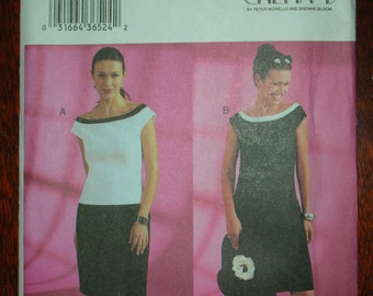 Chetta B dress, top and skirt pattern size 6-10 Butterick #3863 Uncut Shift dress or skirt & top