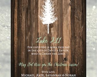 Rustic Tree Christmas Card // 5x7 Printed Cards - Set of 10 // Christian Christmas Card, Rustic Christmas Card, Religious Christmas Card