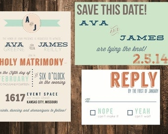 Modern Typography Wedding Invitation // Invitation & Rsvp Set available as printed sets or Diy printable