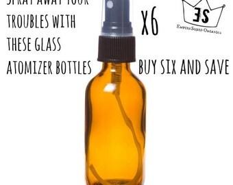 6 Glass Atomizer Bottles - 4oz - Boston Round Glass Spray Bottle - Glass Atomizer Bottle - Empty Glass Spray Bottle