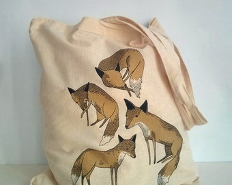 golden foxes - hand screen printed tote bag
