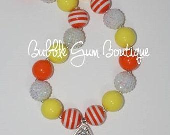 Candy Corn Pendant  Halloween Bubbble Gum Bead Necklace