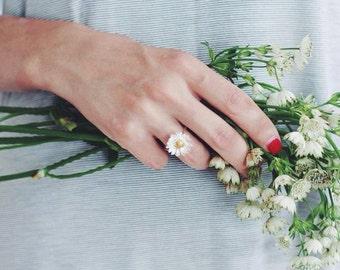 Gänseblümchen ring in Sterling Silber mit Vergoldung - Blume Ring - Sommer-Schmuck - Versprechen Ring - romantischen Schmuck für Sie