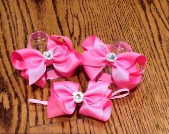 Hot Pink Baby Barefoot Bow Sandal Set with Rhinestone Center and MATCHING HEADBAND
