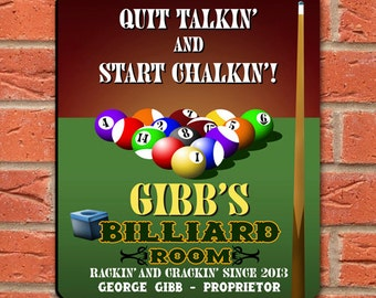 Personalized Billiards Vintage Bar Sign - Personalized Pub Sign - Home Bar Gifts - Gifts for Him - Groomsmen Gifts - GC268 BILLIARDS