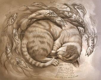 Resting Cat // 8 X 10 Print // Tabby Cat print // Cat and Fish print // Giclee print // Cat lovers // cat and fish art print