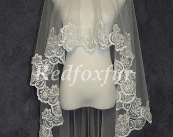 lace veil.fingertip veil.ivory wedding veil.lace wedding veil. wedding headpiece