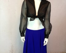 50s 60s Organza Crop Tie Top Ladies Medium Fit Sheer Full Sleeves Semi Sheer Bodice Snap Wide Cuffs Extremely Sexy Well-Made Gypsy Blouse