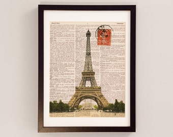 Paris Dictionarty Art Print - Eiffel Tower Postcard Print - Print on Vintage Dictionary Paper - Eiffel Tower Dictionary Print - French Decor