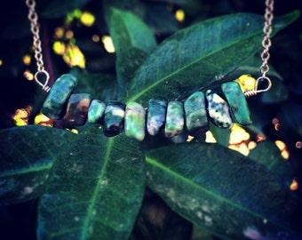 The NATURAL JADE Bar Necklace // Real Semiprecious Jade Bar Necklace in Antique Silver // Boho Gypsy Layering Necklace