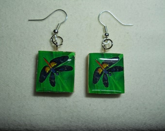 Scrabble Tile Earrings, Scrabble Tile, Dragonfly Earrings, Earrings,Scrabble Tile Jewelry, Dragonfly Scrabble Tile, Scrabble, Dragonfly,Gift