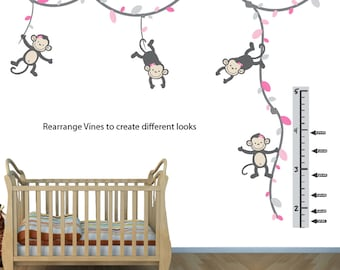 Monkey Wall Decals, Monkeys on Vines, Monkey Wall Stickers for Nursery or Girls Room ( PinkGray ), (V76_MB91_MF89_78_47_48_GC91_78),  MVDG