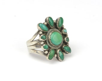 Vintage 1950's Old Pawn Turquoise and Sterling Silver Ring