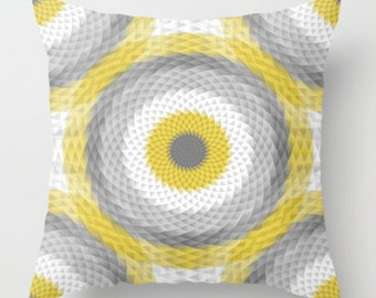 Geometric Pillow Cover Throw Pillow Cover Accent Pillow Cover Yellow Pillow Cover Grey Pillow Cover Home Decor Couch Pillow Cover