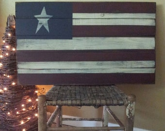 Large Primitive American Flag Wooden Sign